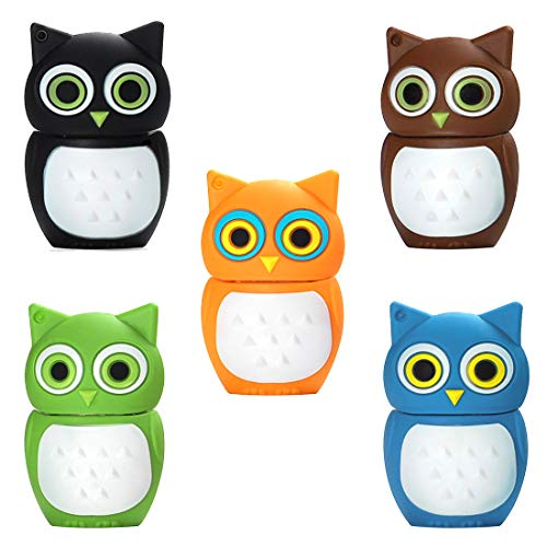16GB USB Flash Drive Pack of 5 Pcs, BorlterClamp Thumb Drive with Cute Colorful Owl Pattern, Gift for Students and Children