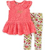 Juicy Couture Baby Girls 2 Pieces Pants Set-Printed Leggings, Coral, 0/3M