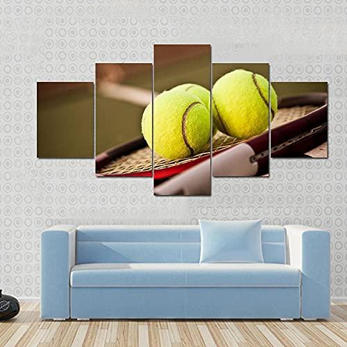 Cuadro Moderno Lienzo Decoración Raqueta tenis y pelotas tenis en cancha tenis Impresión artística Decoracion de Pared Moderno Impresión de Imagen Pósteres