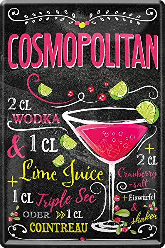 Cosmopolitan Wodka Cocktail 20 x 30 cm Bar Party Keller Deko Blechschild 85