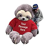 Big Plush Personalized 7 Foot Giant Stuffed Sloth Wears Customized Tshirt That You Design, Huge Stuffed Animal Measures 7 Feet Tall 84 Inches Soft 213 cm