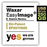 Waxar EasyImage-250, High-End Backup Software inklusive USB-Stick 256GB, läuft automatisch ohne-Installation, kompatibel zu Windows, Mac, Linux, Laptop-Edition -1 Gerät, deutsch