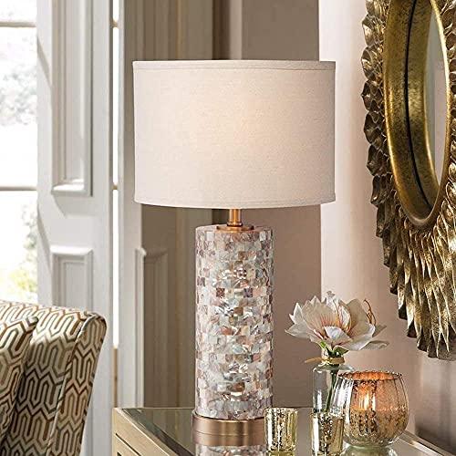 Lámpara de mesa, portalámparas ovalado blanco E27, pantalla de tela, lámpara de escritorio redonda de nácar, interruptor de botón enchufable, sala de estar nórdica, dormitorio familiar, iluminación