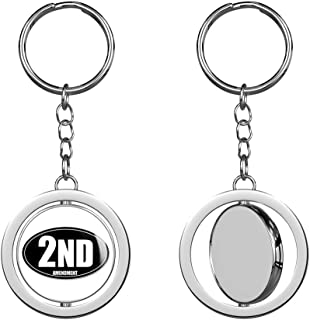 PRS Vinyl Black Oval 2ND Amendment Gun (Second) Keychain Spinning Round Chrome Metal Key Chain