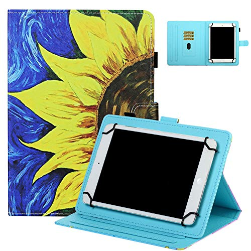 Universal Case for 7' Tablet, UGOcase Stand Folio Protective Case Cover for Galaxy Tab 3 Lite 7.0/Tab 4 7.0/ Tab E Lite 7.0/ Mediapad T3 7.0' and More 6.5'-7.5' Tablets - Sunflower