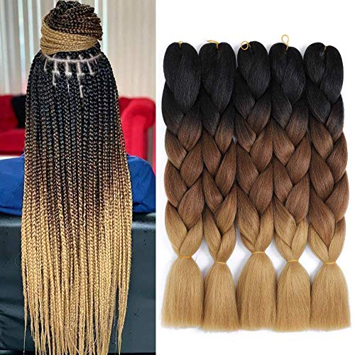 5pcs Jumbo Braid Ombre Jumbo Tressage Cheveux Extensions de Cheveux Tressage Synthétiques Kanekalon Jumbo Tresses 24 pouces (5pcs, Black/Drak Brown/Light Brown)