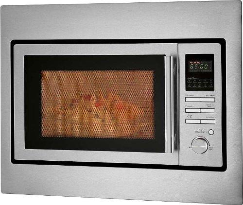 Einbau Mikrowelle mit Heißluft und Grill 25 Liter Edelstahlfront (Mini Ofen, Timer, inkl. Einbau Rahmen, Heißluft Ofen bis 230 Grad, Edelstahl Innenraum, 5 Mikrowellen Stufen)