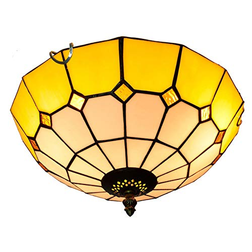 Lámpara De Techo Estilo Tiffany De 12 Pulgadas, Pantalla De Vitral De...