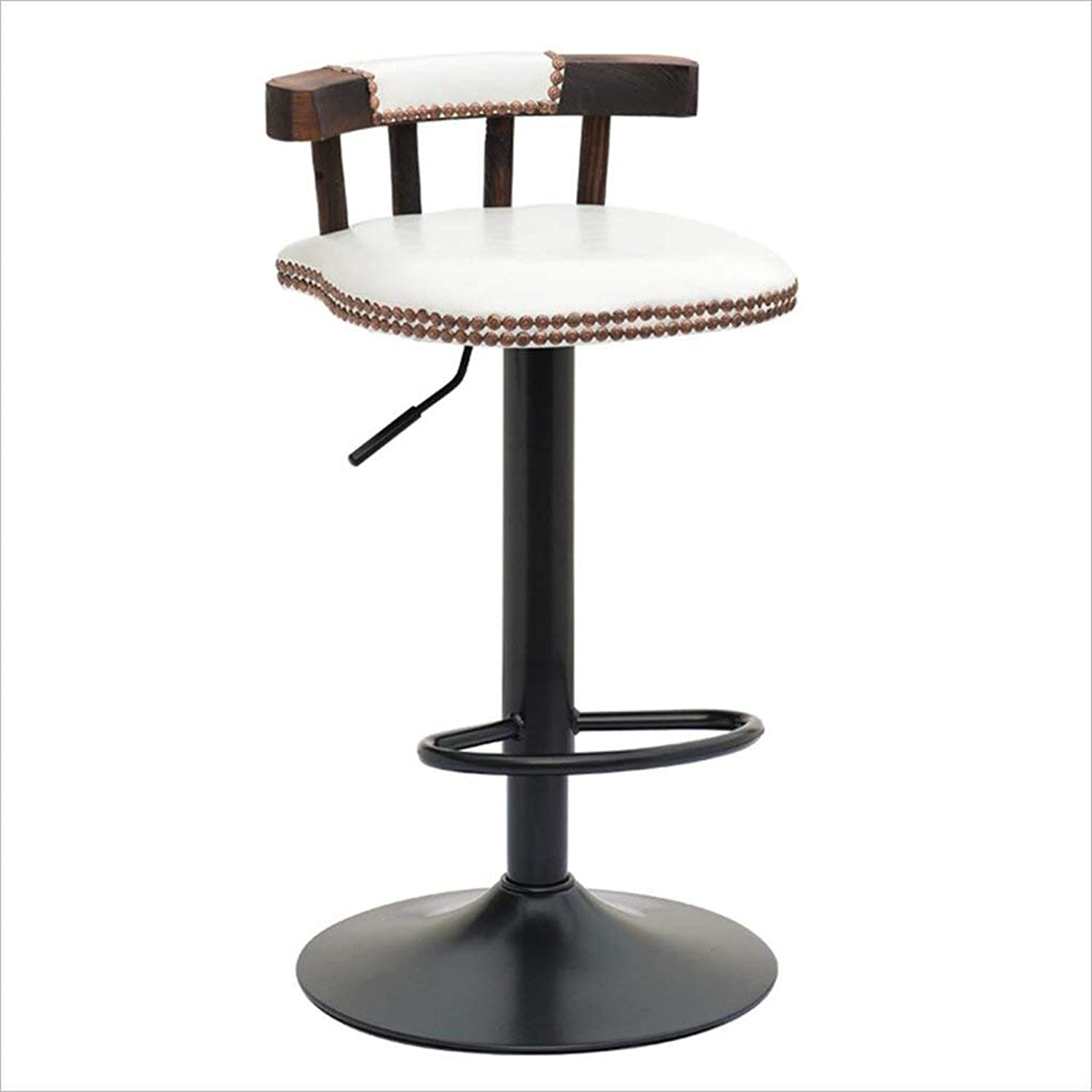 Bar Chair, Retro Style Bar Stool High Stool Dining Chair Iron Chair Round Stool Height Adjustable 75 to 95cm