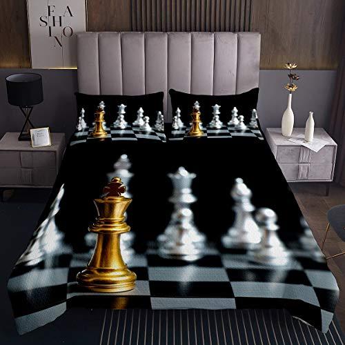 Juego de ajedrez Colcha de ajedrez geométricas guingán Colcha de habitación Oro Plata ajedrez Negro Blanco Cuadrado colección de Ropa de Cama 2 Piezas