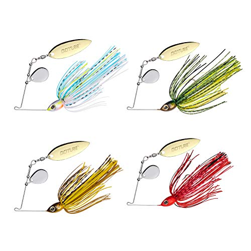 Goture Spinnerbait Spinner Baits Swim Jig Freshwater Fishing Lures for Bass Pike Trout Salmon 3/8 oz, 4 Colors, 4 Pack
