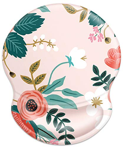 YOOMAS Ergonomic Mouse Pad Floral with Soft Memory Gel Wrist Rest Support, Cute Aesthetic Floral Mousepad with Non-Skid Rubber Base for Home & Office Working - Petite Flowers/Pink