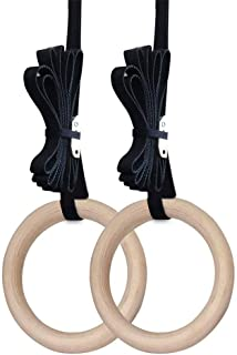 Spachy Lot de 2 Anneaux de Gymnastique en Bois pour Gymnastique de Gymnastique et Gymnastique 1,1 zoll comme sur limage