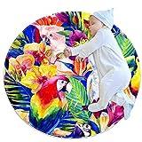 Alfombra redonda para gatear de bebé gruesa para niños, alfombra de juego con impresión 3D, alfombra de dormir suave, alfombra de 70 cm, lavable a máquina, acuarela loro pájaro