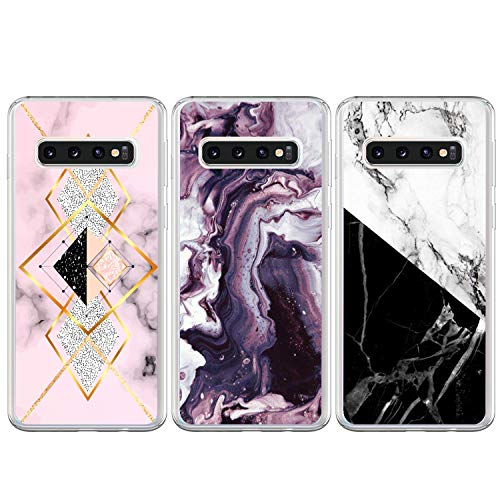 FANCOOL für Samsung Galaxy S10 Plus Hülle 3 stück Case Cover Schutzhülle Silikonhülle Transparent TPU Silikon Handytasche Handyhülle Etui Protective Backcover Schale Handycase Marmor