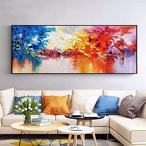 HHSJBY Paisaje Pinturas con Cuchillo Pinturas Coloridas Pop Art Lienzos Cuadros de Pared para Sala de Estar Decoración Moderna 40x150cm / 15.7'x59.1 Sin Marco