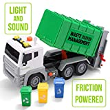 JOYIN 12.5' Garbage Truck Toy Friction-Powered Waste Management Recycling Truck Toy Set with 3 Rear Loader Trash Cans, Back Bump Function, Lights & Sounds Long 1:12