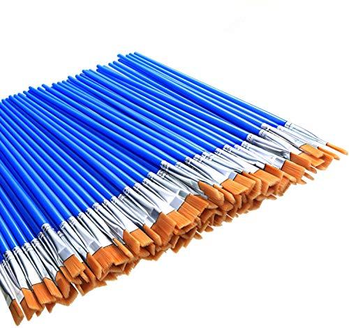 100 Stücke Kleine Flache Pinsel Art Pinsel Flache Kopf Pinsel für Schule Büro Hause Lieferungen