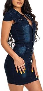 Keaac 女性の半袖デニムドレスセクシーbodyconミニドレス