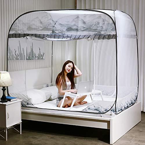 SUNYUE Mongolischen Moskitonetz DREI Türen mit Reißverschluss Pop-up-Moskitonetz für Camping Babybett tragbare Bett Zelt Netze,200x220cm