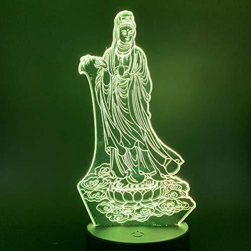 Solo 1 piezas Budismo Avalokitesvara Bodhisattva 3d Luz de noche LED Cambio de color Luz nocturna para la decoración de la habitación interior Lámpara 3D Ilusión
