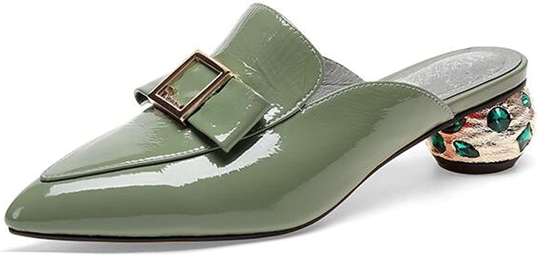 MUMA Pumps Female Sandalen rau mit mittleren Ferse Schuhe Aprikose grün (Farbe   Grün, gre   EU39 UK6 CN39)