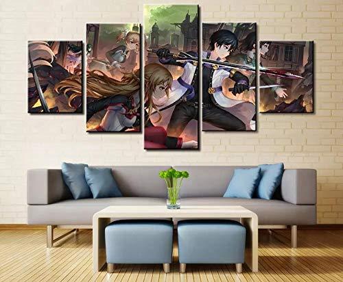 AWER Cuadros Modernos Impresión de Imagen Artística Digitalizada | Lienzo Decorativo para Tu Salón o Dormitorio | Anime en línea A foto de grupo | 5 Piezas 200x100cm XXL