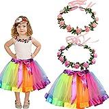 Amycute 3Pcs Falda Tutu Falda de Arco Iris Corona de Flores Multicolor Niñas Dancewear bebés Vestidos fotografía Rainbow Guirnalda Banda Regalo de Cumpleaños(S:2-4 años)