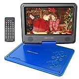 DBPOWER 11.5' Lecteur de DVD Portable avec écran pivotant, Batterie Rechargeable intégrée de 5 Heures, CD/DVD de Support/Carte SD/USB, avec Chargeur de Voiture et Adaptateur Secteur (Bleu)