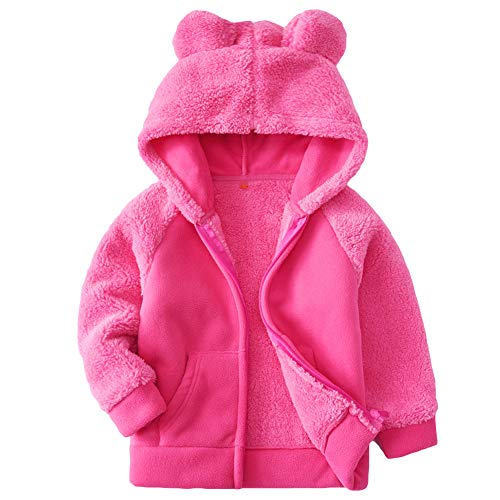 Bear Ears Shape Fleece Warm Hoodies Clothes Toddler Zip-up Light Jacket Sweatshirt Outwear For Baby Boys