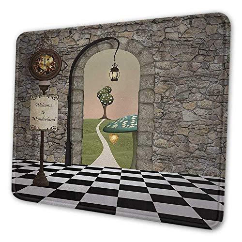 Alice im Wunderland ergonomische Mauspad willkommen Wunderland Schwarz-Weiß-Boden Landschaft Pilz Laterne rutschfeste Gummibasis Mousepad mehrfarbig