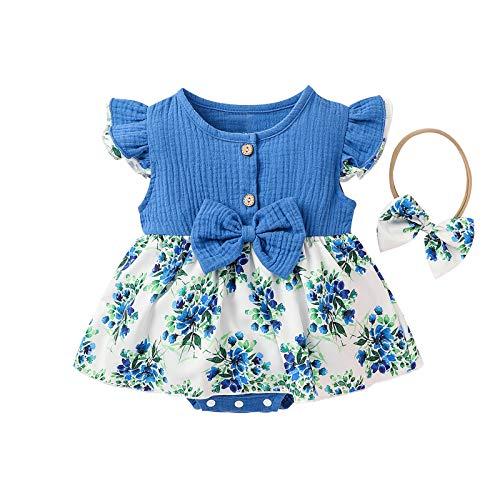 2021 Noworodki niemowlę dziewczynki lato bawełna len kokarda kwiatowy kombinezon sukienka body
