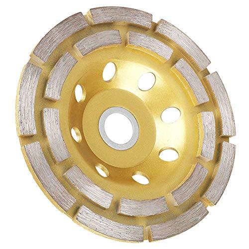 Heritan Muela Abrasiva de Copa de Diamante Doble Hilera de 4-1/2 Pulgadas, Disco de Muela Turbo de HormigóN para Amoladora Angular, para Granito, Piedra, MáRmol, MamposteríA, Etc