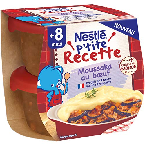NESTLÉ Bébé - P'tite Recette - Moussaka au bœuf - Plat complet - Dès 8 mois - 2x 200g