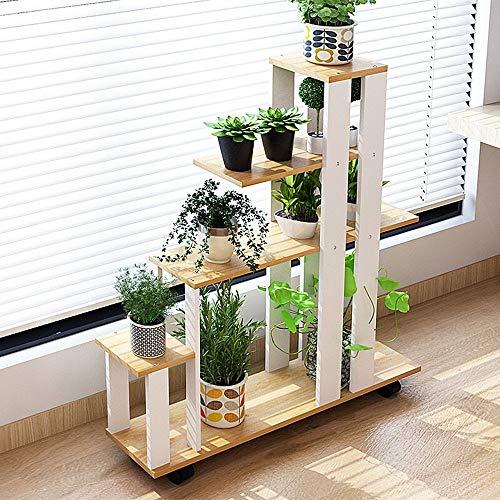 JHUEN Balkon-Blumengestell/mehrstöckiges Innengestell/einfaches Multifunktions-Blumentopf-Rack/Boden-Stil-Blumen-Rack (Farbe : Yellow pear Color)
