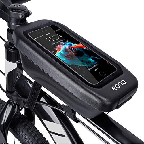 Eono by Amazon - Water Resistant Bike Frame Bag for Phone Quick-Open Front Tube Storage Bag for Road Bike, Mountain Bike (Black)