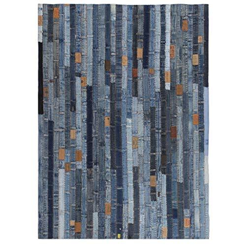 Zora Walter Alfombra de patchwork, 80 x 150 cm, color azul vaquero, para habitación infantil, antideslizante, alfombra