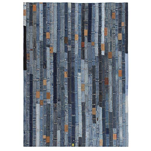Zora Walter Alfombra jeansflicken Patchwork 120x 170cm Jeans Azul Moderno Antideslizante Lavable Alfombra for Salón