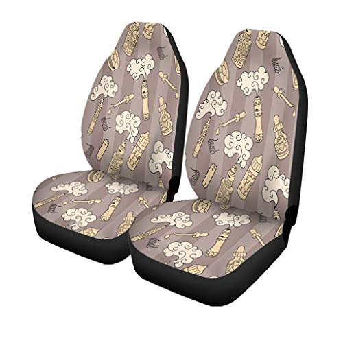 Semtomn Set of 2 Car Seat Covers Battery Vape E Cigarettes Juice Mod Atomizer Devices Steam Universal Auto Front Seats Protector Fits for Car,SUV Sedan,Truck
