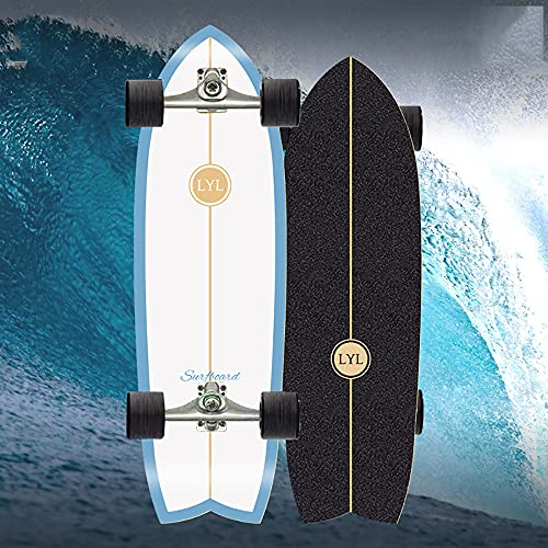 Surfskate Skateboard Anime Komplette Waveboard Kinder Ab 10 Jahre, 31In Land Surfbord Longboard C4 Truck ABEC-11 Kugellager, Holz Cruiser 7 Lagigem Ahornholzdeck Penyboards Für Anfänger Und Fachleute