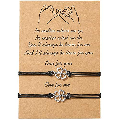 Poneneo Best Friend Bracelet Sunflower Bracelet for Girls Women Couples,Pinky Promise Bracelet Friendship Bracelet for 2 Adjustable Matching Bracelets Friendship Gifts (Four Leaf Clover)