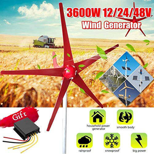 TQ 3000W Windenergie, Elektrizität Generator 12V / 24V 5 Windklingen Horizontal Windgenerator mit Steuerpult Windturbinen Klinge,3000w,24V