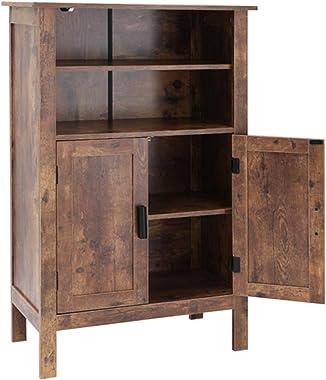 USIKEY - Estantería retro de madera con doble puerta, armario de almacenamiento con 2 estantes abiertos, armario de baño, est