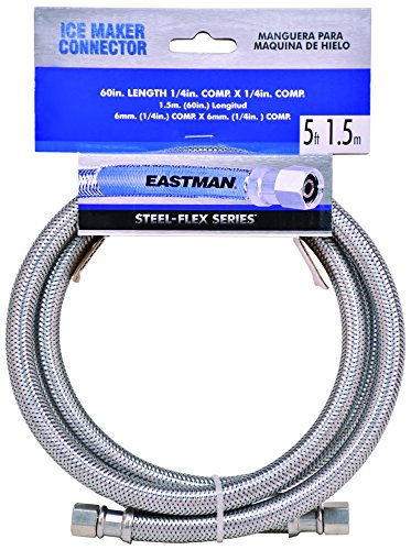 Eastman 48391 Stainless Steel Icemaker Connector 1//4 COMP Silver 20 Ft Length
