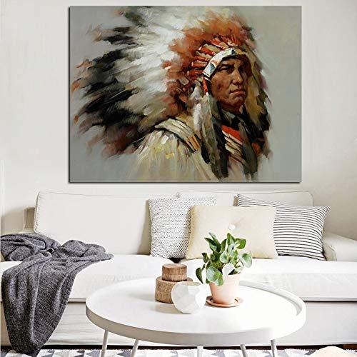 wZUN Cuadro de Lienzo con Retrato de Pluma India para Sala de Estar Abstracta, Carteles e Impresiones, Cuadros de Pared de Arte Pop para Sala de Estar 60x80 Sin Marco
