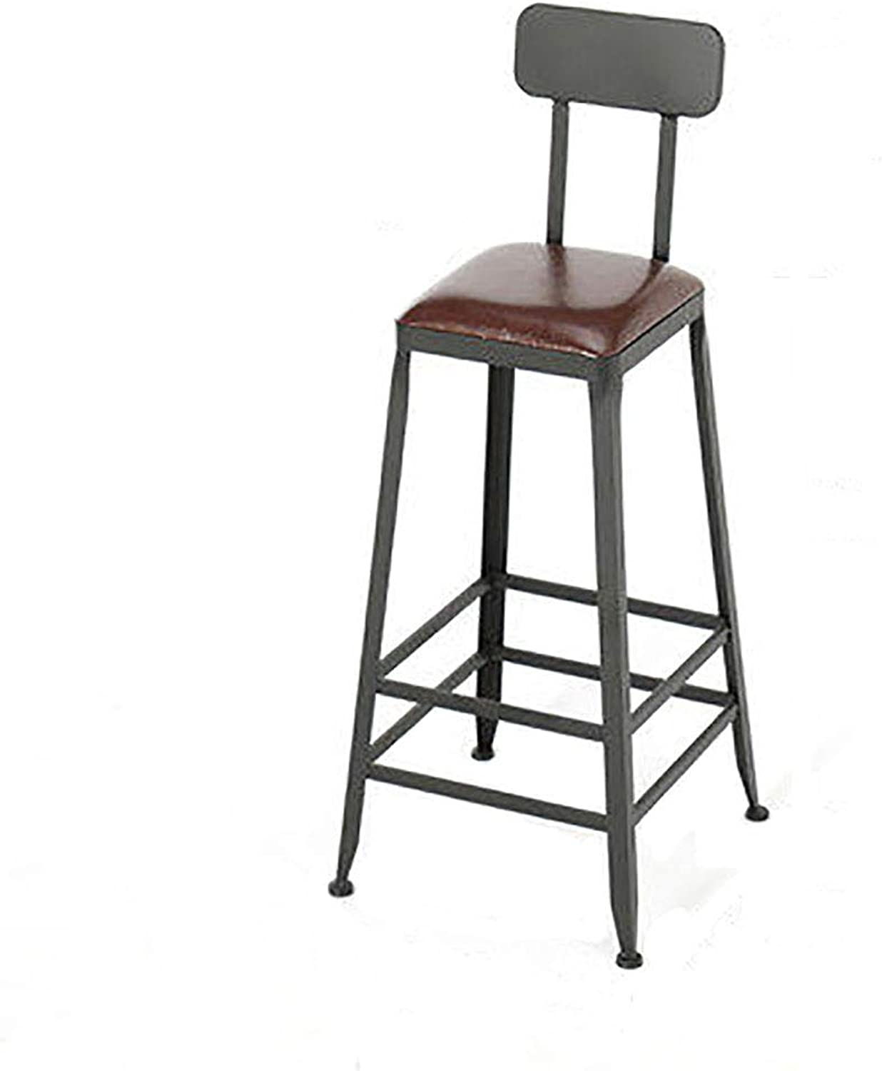 Barstools Chair Footrest with Backrest, Square Artificial Leather Seat Dining Chairs for Breakfast Restaurant Pub   Coffee Bar Stool   Max Load 200kg,Black Metal Legs   Sitting Height:65 75cm