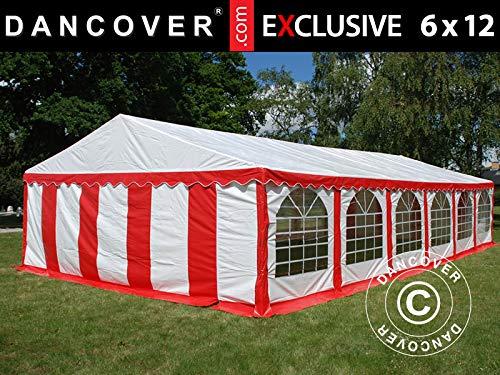 Dancover Carpa para Fiestas Carpa Eventos Exclusive 6x12m de PVC, Rojo/Blanco