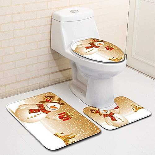 Conjunto de Cortina de Ducha de Tela de decoración de baño de Navidad de Alfombra de baño Conjunto de Cortina de Ducha de Tela