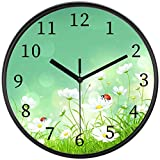ATEDEANEI Silent Decorative Frame Wall Clock Ladybug 10 Inch Wall Decor Arabic Numerals for Bedroom Living Room Kitchen