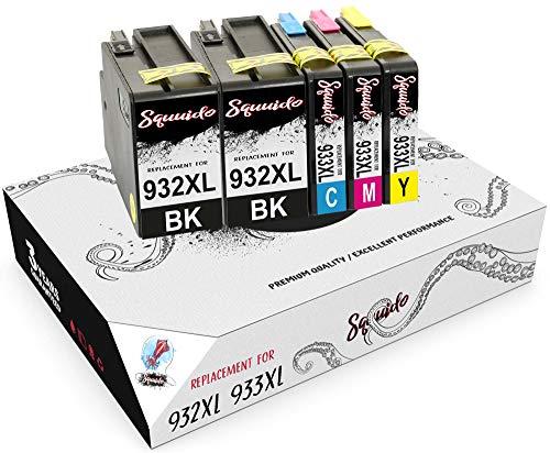 Squuido 5 Cartuchos de Tinta 932XL 933XL compatibles para HP OfficeJet 6600 6700 7110 7610 7612 7620 6100 7510 7600 | Alto Rendimiento 1000/825 páginas